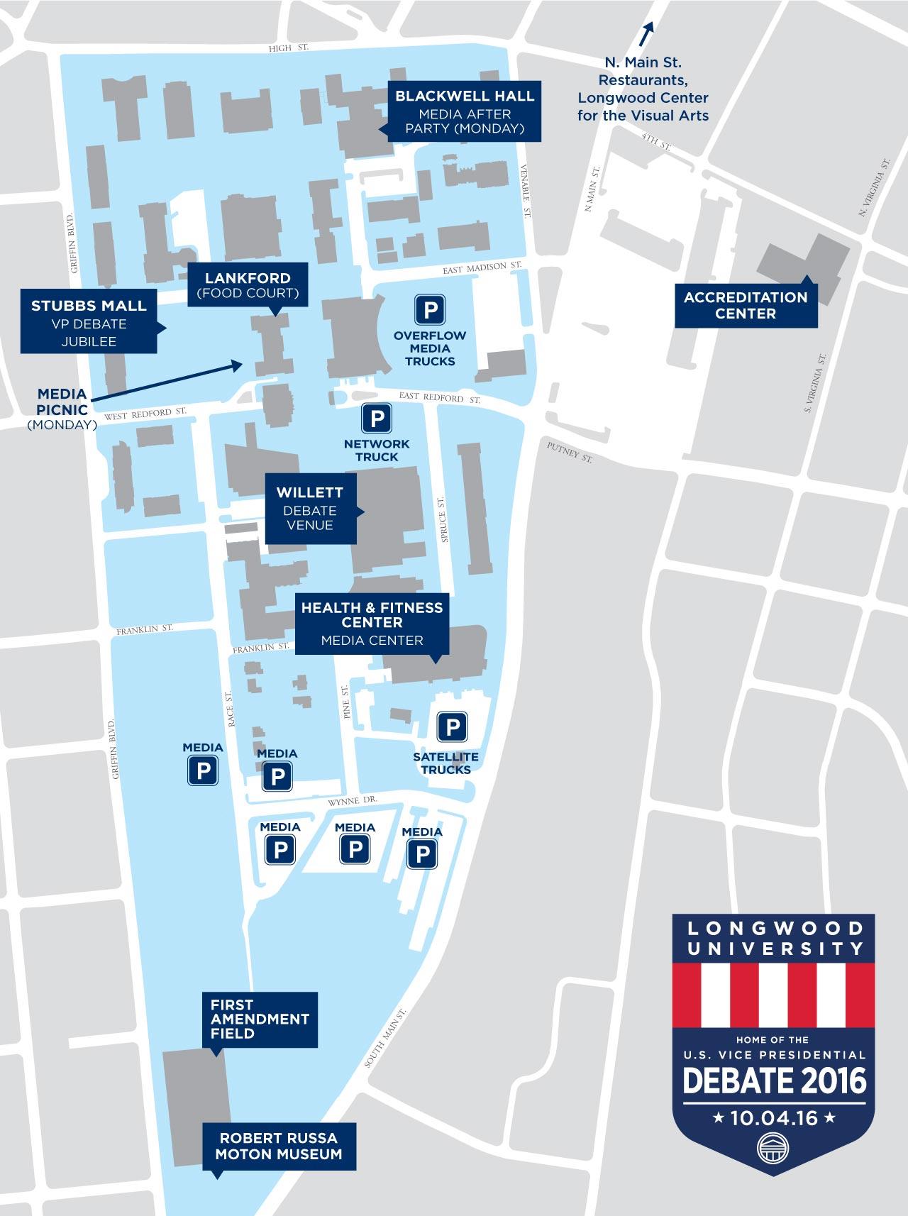 longwood university campus map 2016 Vice Presidential Debate At Longwood longwood university campus map